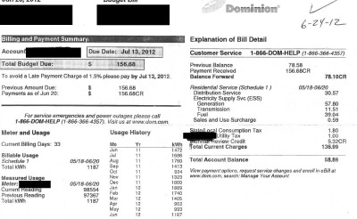 Electric Bill June 2012 VA