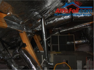 AtticFoil radiant barrier foil insulation installation HVAC in attic