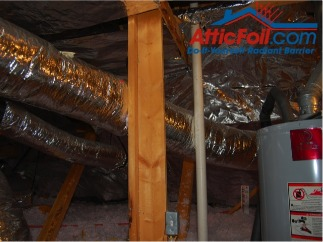 AtticFoil radiant barrier foil insulation installation hot water heater