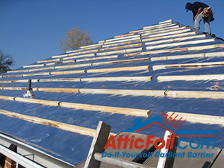 battens over AtticFoil radiant barrier foil insulation installation metal roof