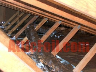 over the insulation radiant barrier reflective insulation duct work in attic