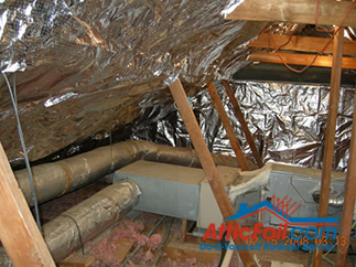 AtticFoil radiant barrier foil insulation installation photo attic