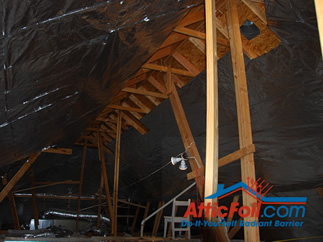 AtticFoil radiant barrier foil insulation installation photo tall attic
