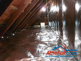AtticFoil radiant barrier foil insulation installation photo knee wall