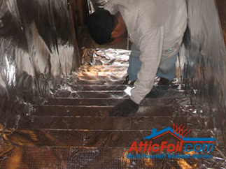 AtticFoil radiant barrier foil insulation installation photo attic stairs