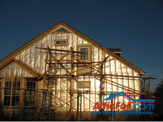 AtticFoil radiant barrier foil insulation installation house wrap