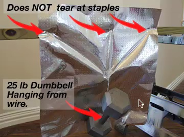 foil strength test with dumbell hanging