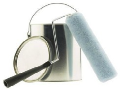 silver paint can and roller